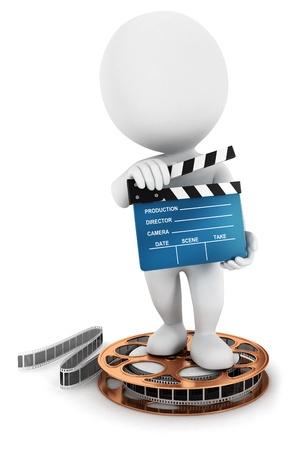フィルムのリール、孤立した白い背景、3 d イメージ ムービー クラッパーを保持している 3 d の白人の人々