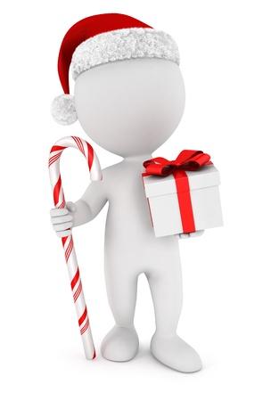 3d белых людей Санта-Клаус с подарком и шоколадная конфета, изолированных на белом фоне, 3D изображения