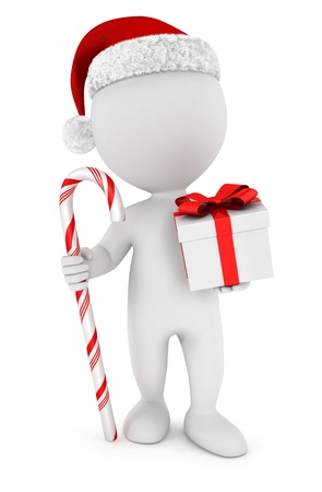 cane: 3d white people santa claus with a gift and a candy cane, isolated white background, 3d image