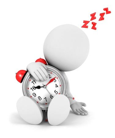 despertador: 3d gente blanca cansados ??con un reloj de alarma
