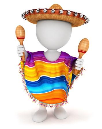 3d белые люди с мексиканским сомбреро, пончо и играть маракасы, изолированных на белом фоне, 3D изображения