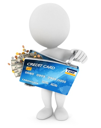 3d white people opens a credit card, isolated white background, 3d image Banque d'images