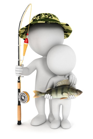 fishing tackle: 3d white people fishing with his son and caught a perch fish, isolated white background, 3d image
