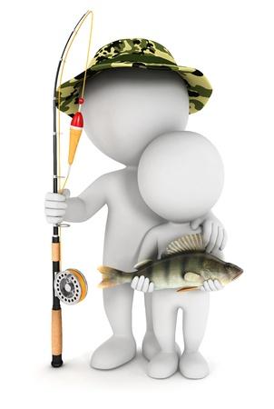 pescador: Pesca 3d gente blanca con su hijo y atrapó un pez perca, aislado fondo blanco, imagen 3d Foto de archivo