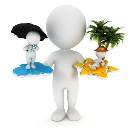 3d белые люди солнце или дождь концепция, изолированных на белом фоне, 3D изображения