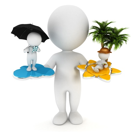 3d white people sun or rain concept, isolated white background, 3d image Banque d'images