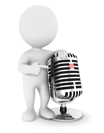 3d white people with a microphone, isolated white background, 3d image photo