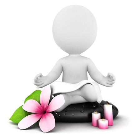3d белые люди медитация, изолированных на белом фоне, 3D изображения