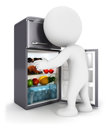 3d white people opens a fridge door, isolated white background, 3d image