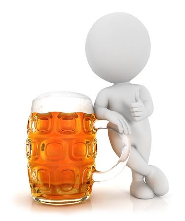 petit bonhomme: 3d personnes de race blanche avec une bière dans un esprit positif pose, isolé sur fond blanc, image 3d