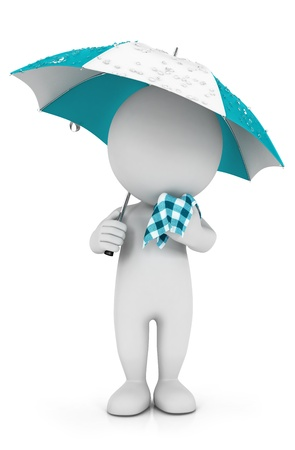3d white people with a cold in the rain, isolated white background, 3d image Imagens