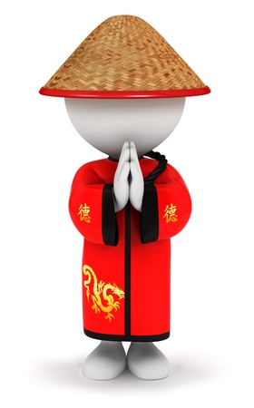 3d white people chinese, isolated white background, 3d image