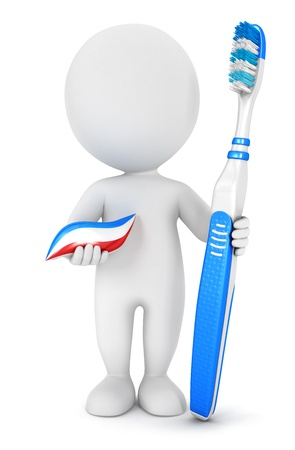 3d white people dental hygiene with a toothbrush and toothpaste, isolated white background, 3d image photo