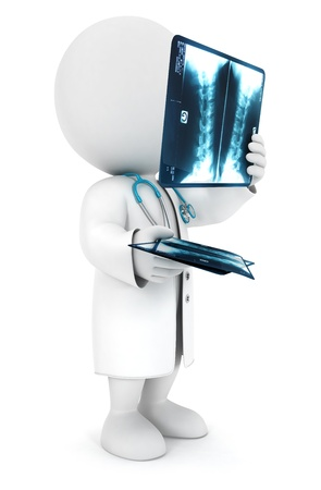 radiography: 3d white people radiologist looking a radiography, isolated white background, 3d image