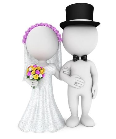3d white people just married couple, isolated white background, 3d image