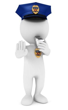 3d witte mensen politieagent stopbord met een fluitje, geà ¯ soleerde witte achtergrond, 3d beeld