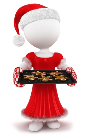 3d white people woman with homemade gingerbread, isolated white background, 3d image