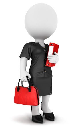 files: 3d white people businesswoman with a file and a handbag, isolated white background, 3d image
