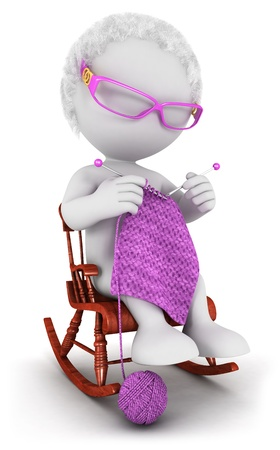 3d white people old woman knits on a rocking chair, isolated white background, 3d image