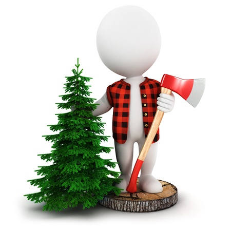 3d white people lumberjack on a tree trunk with a pine and a axe, isolated white background, 3d image photo