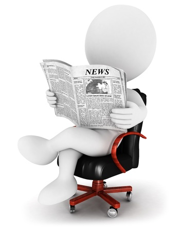 3d white people reading a newspaper, sitting on a leather chair, isolated white background, 3d image Banque d'images
