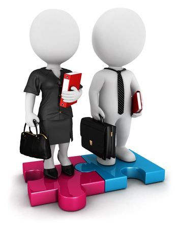 business briefcase: 3d white people businessman and businesswoman standing on piece of puzzle, isolated white background, 3d image