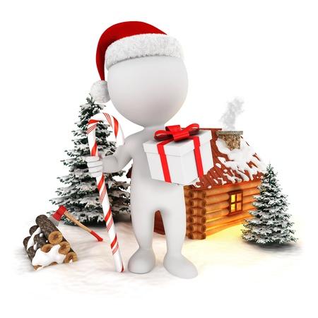 casita de dulces: 3d blanco pueblo de Papá Noel en una escena de la Navidad, fondo blanco aislado, imagen 3d Foto de archivo