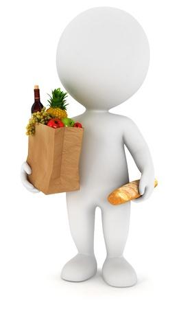 3D белый человек идет за покупками, изолированных на белом фоне, 3D изображения