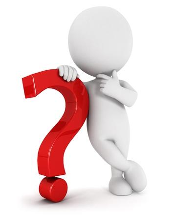 interrogativa: 3d gente blanca con un signo de interrogaci�n, aislado fondo blanco, imagen 3d
