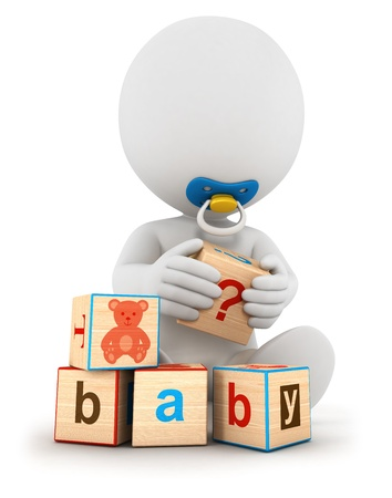 early childhood: 3d white people baby playing with blocks, isolated white background, 3d image