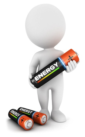 3d white people with a battery, isolated white background, 3d image photo