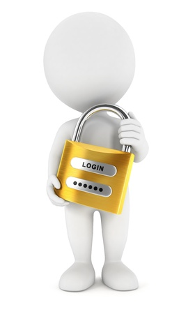 3d white people with a padlock, isolated white background, 3d image photo
