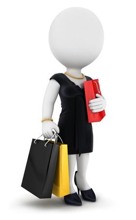 3D белый человек женщина идет за покупками, изолированных на белом фоне, 3D изображения Фото со стока