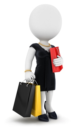 3d white people woman goes shopping, isolated white background, 3d image