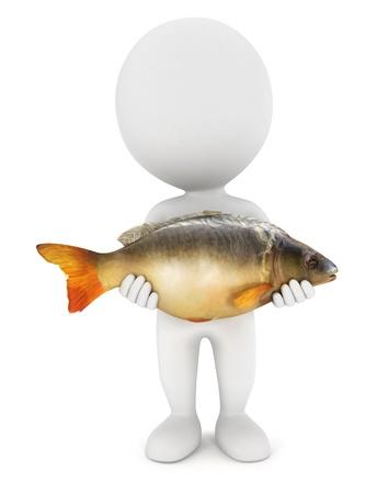 3d белые люди поймал большую карповых рыб, изолированных на белом фоне, 3d изображение