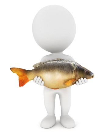 3d white people caught a big carp fish, isolated white background, 3d image