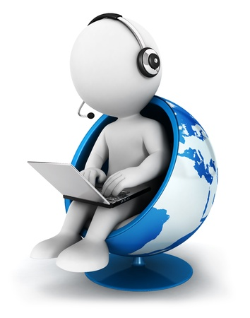 3d white people global manager seated on a world chair with laptop, isolated white background, 3d image