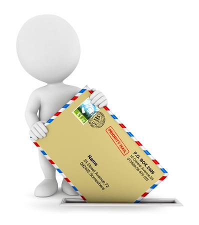 3d white people sending a mail, isolated white background, 3d image Banque d'images