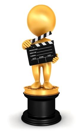 3d белых людей золотого Оскара, изолированных на белом фоне, 3D изображения