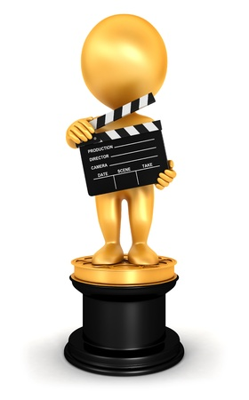 commendation: 3d white people golden oscar, isolated white background, 3d image Stock Photo