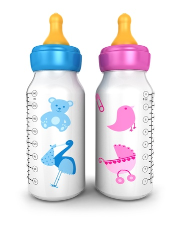 3d feeding bottles, isolated white background, 3d image photo