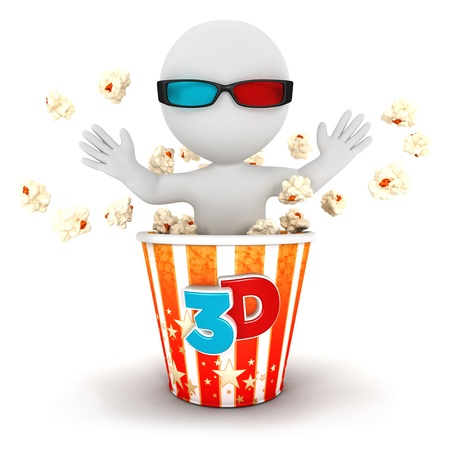 3d white people comes out of popcorn, isolated white background, 3d image photo