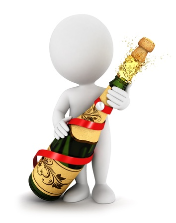 3d white people opens a champagne bottle, isolated white background, 3d image