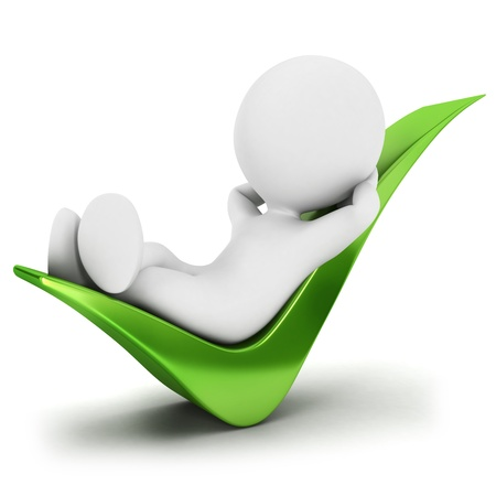 relaxar: 3d pessoas brancas relaxou em uma marca de seleção, fundo branco isolado, imagem 3d
