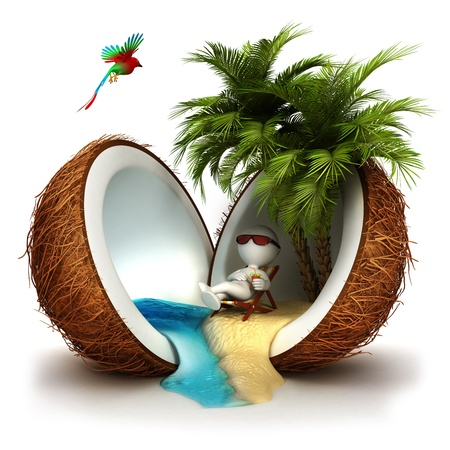 3d weißen Menschen in einer Kokosnuss Paradies, isoliert auf weißem Hintergrund, 3D-Bild entspannt Standard-Bild