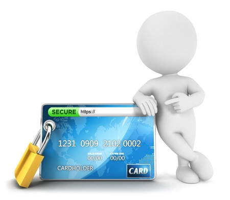 3d white people secure payment, isolated white background, 3d image