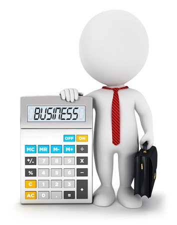 3d white people businessman with a calculator, isolated white background, 3d image photo
