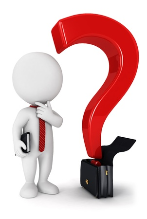 interrogative: 3d white people business question, isolated white background, 3d image