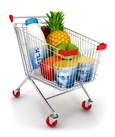 3d shopping cart, isolated white background, 3d image