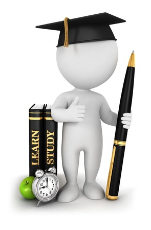 3d white people studious student, isolated white background, 3d image